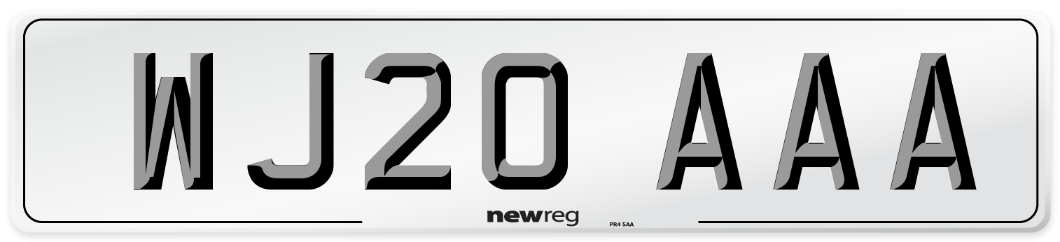 WJ20 AAA Number Plate from New Reg